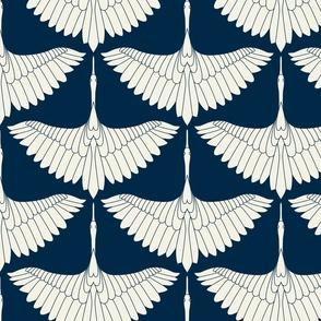 Swan Song // Ecru on Navy