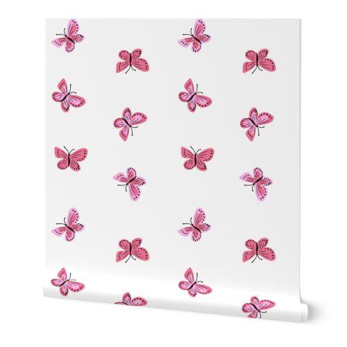 Little Pink Simple Baby Butterflies Spoonflower