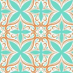 Aqua & Orange Elegant Tile