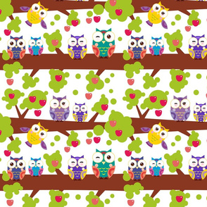 bright colorful owls, tree with red apples on white background
