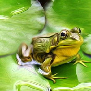 bullfrog on waterlily - painting effect - large