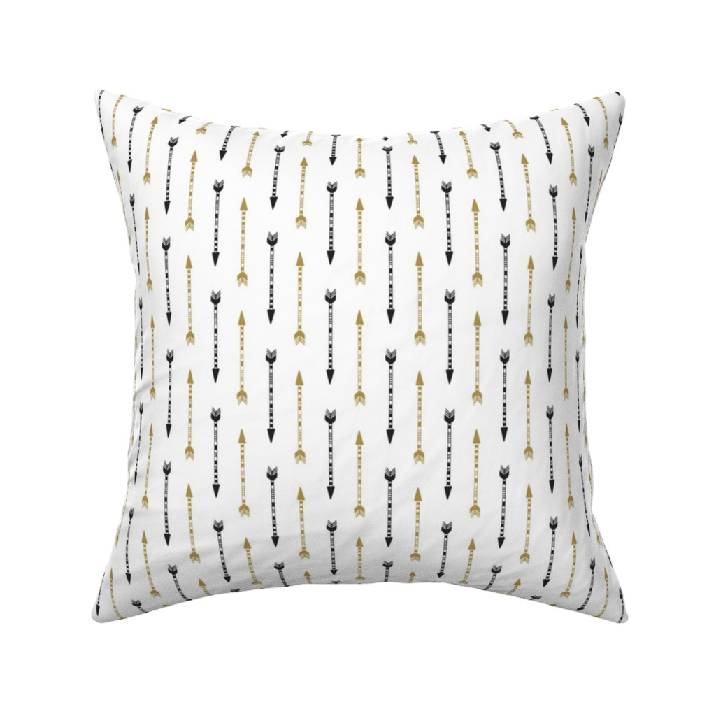 Catalan Throw Pillow featuring Vertical Arrows In Gold Black by gypsea_art_designs