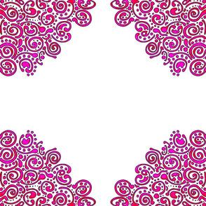 Pink Ornate swirls on white