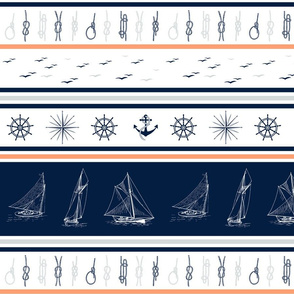 Nautical stripe blanket sailor blanket cheater quilt sailboats, anchors, windroses  Navy blue, grey, coral on white