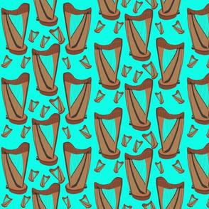 Irish Harp on Torquoise by DulciArt,LLC