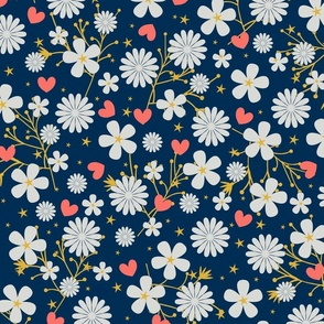Dancing Blossom - Navy (large print)