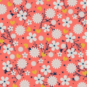 Dancing Blossom - Coral (large print)