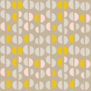 Retro mid-century geometric semi circles with texture in pastel pink, yellow, grey and  taupe