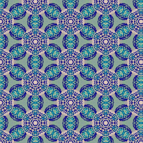 african flower motif blue - large