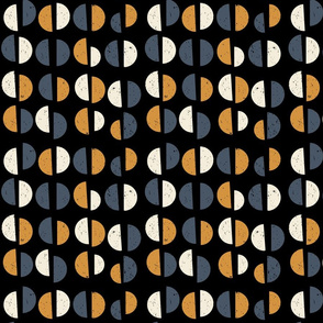 Retro mid-century geometric semi circles with texture in navy blue, mustard yellow, off white and  black
