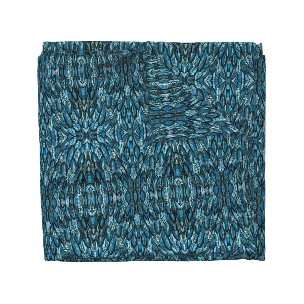 Wyandotte Duvet Cover featuring Blue Feathers by dunnspun