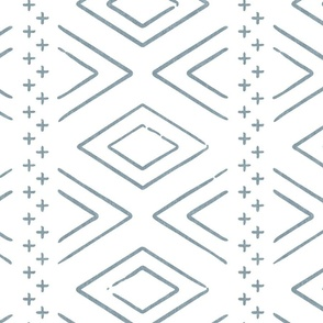 Safari Wholecloth Diamonds in dusty blue - farmhouse diamonds - mud cloth fabric (90) C19BS