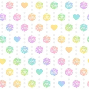 Pastel Gradient Dice N' Dots on White
