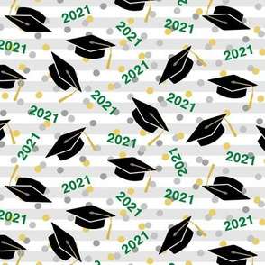 Tossed Graduation Caps with Green 2021, Gold & Silver Confetti (Small Size)