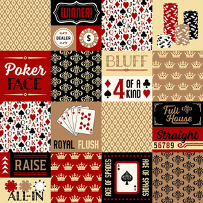 Poker Cheater Quilt in Dark Red & Gold