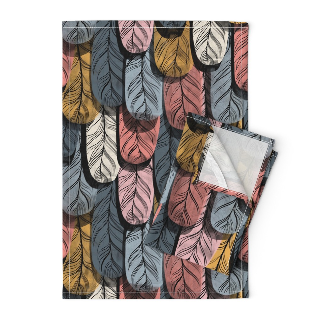 Orpington Tea Towels featuring Borrowed Plumes by mariaspeyer