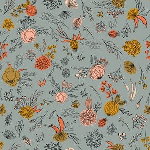Vintage antique floral flowers and berries on grey.