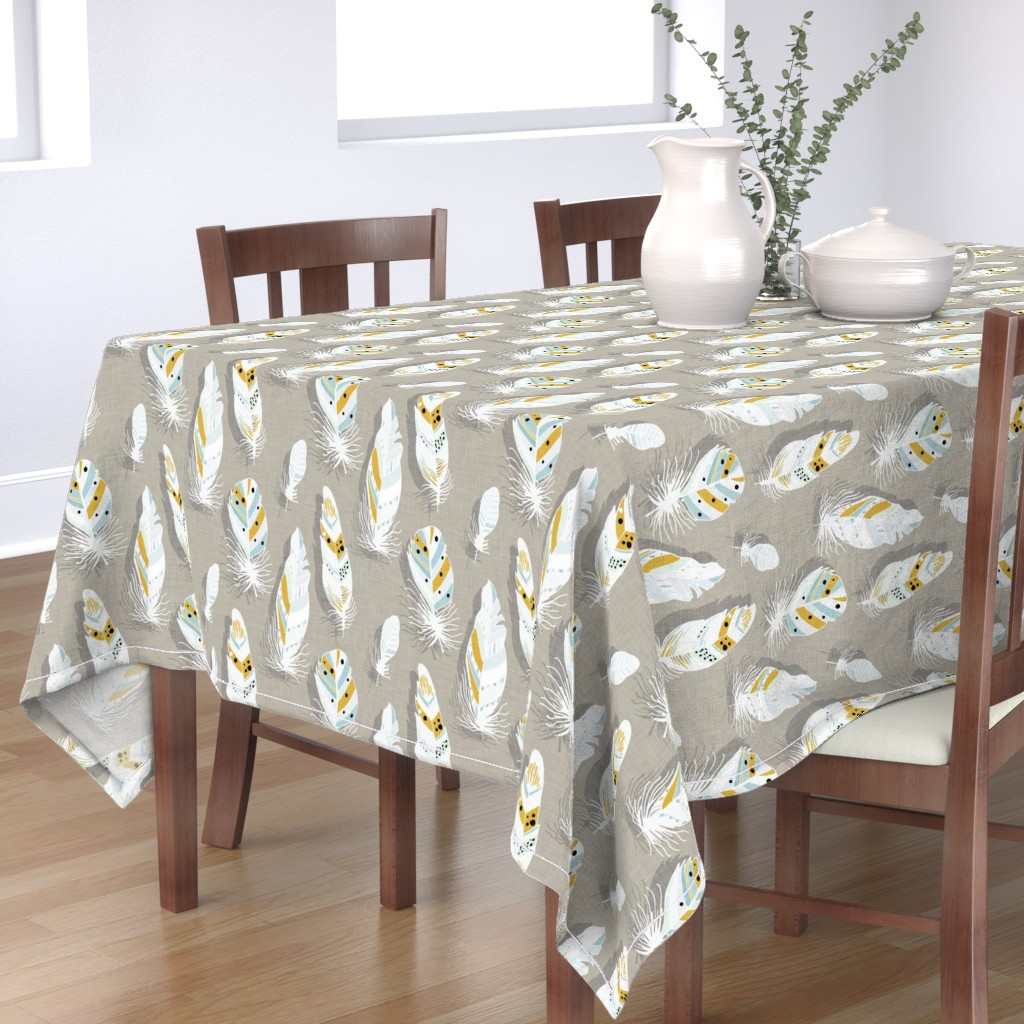 Bantam Rectangular Tablecloth featuring Feathers beige  by bruxamagica