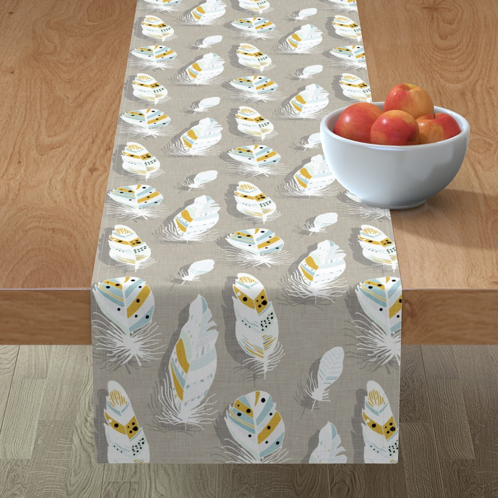 Minorca Table Runner featuring Feathers beige  by bruxamagica