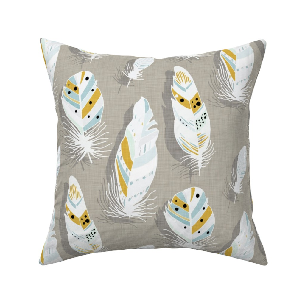 Catalan Throw Pillow featuring Feathers beige  by bruxamagica