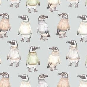 Fair Isle penguins on blue