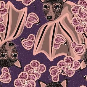 Bat in flowers on a purple background