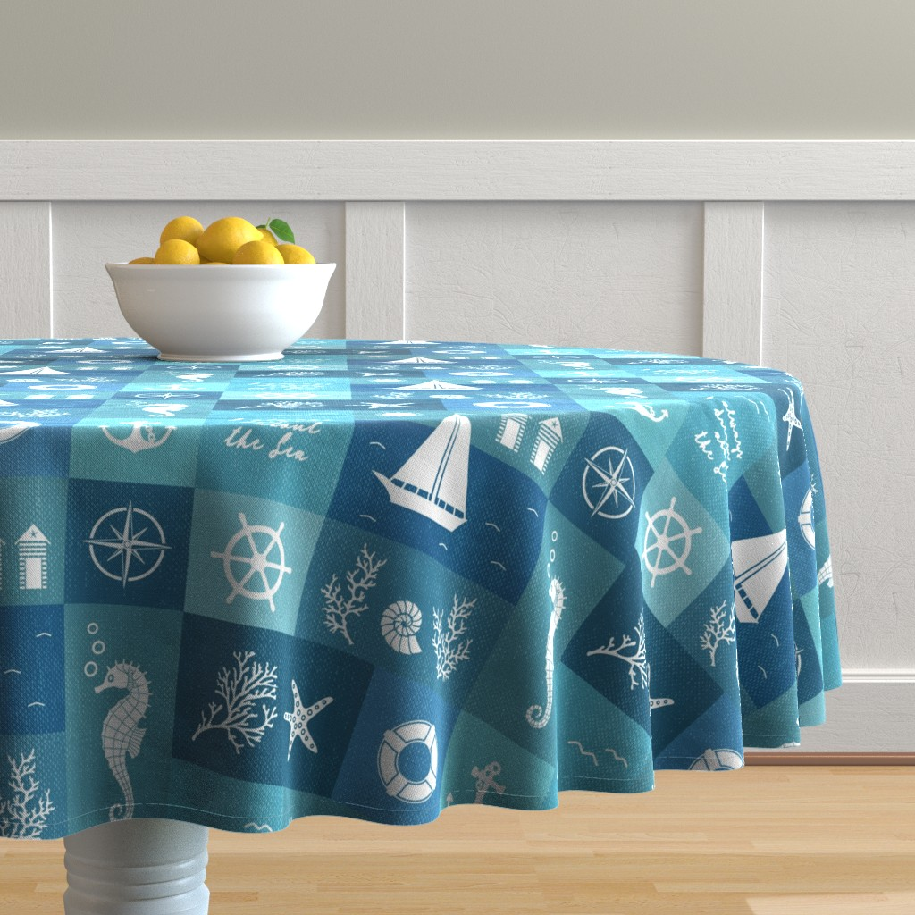 Malay Round Tablecloth featuring Vintage board of nautical white items on blue fabric by danadu