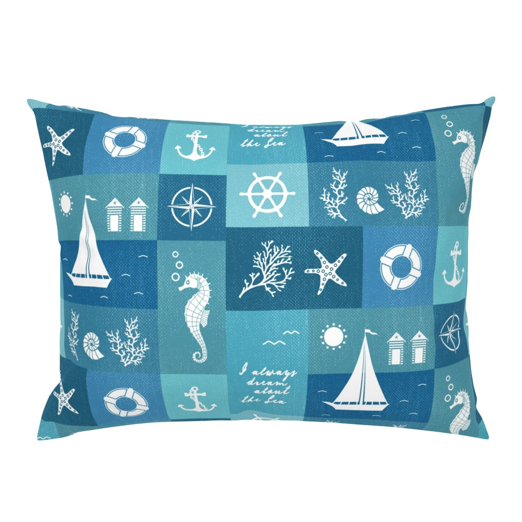 Campine Pillow Sham featuring Vintage board of nautical white items on blue fabric by danadu