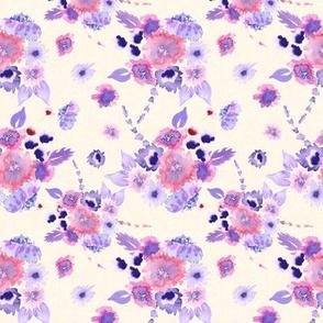 19-06R Lavender Purple Red Pink Watercolor Floral
