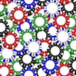 Scattered Poker Chips on White