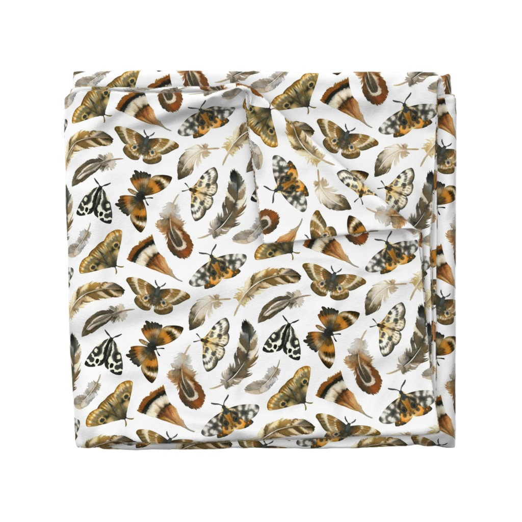 Wyandotte Duvet Cover featuring feathers & moths - white, large by mirabelle_print