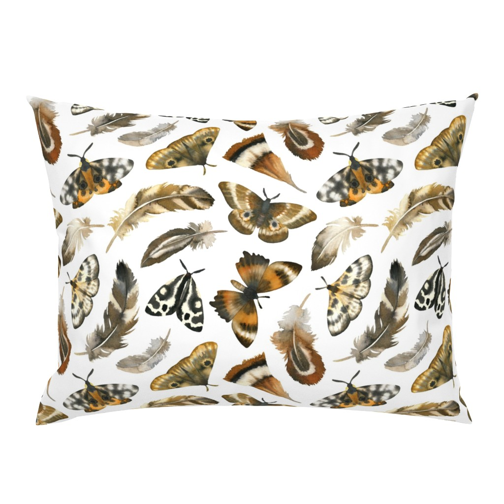 Campine Pillow Sham featuring feathers & moths - white, large by mirabelleprint