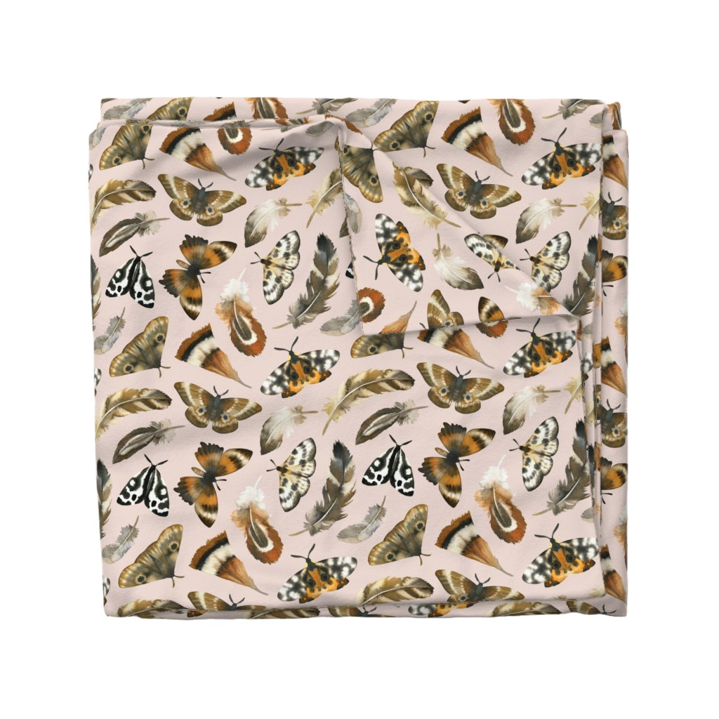 Wyandotte Duvet Cover featuring feathers & moths - blush, large by mirabelleprint