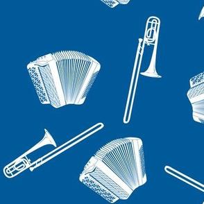 accordion and trombone white on navy