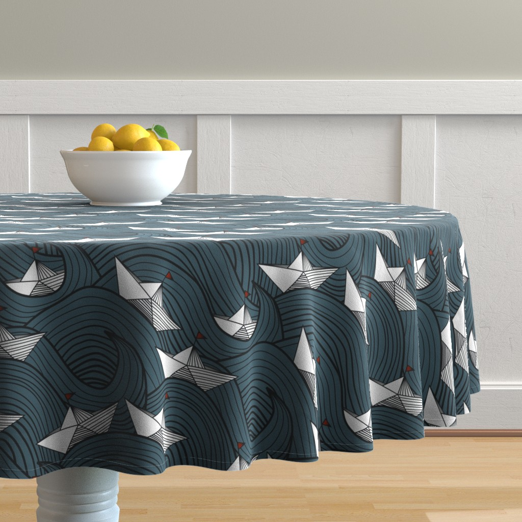 Malay Round Tablecloth featuring Origami Boats by amy_maccready