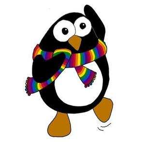 Cartoon penguin dancing.