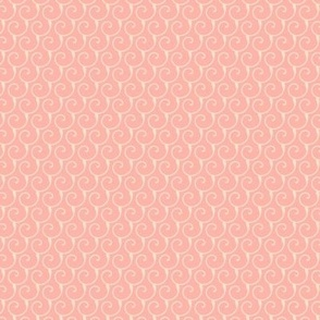 Small size, Creamy abstract curls on salmon background