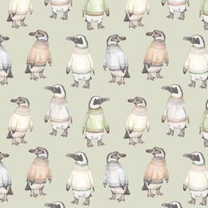 Fair Isle Penguins in green
