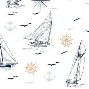 Navy blue sailboats with windroses, anchors and wheels