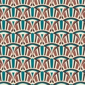 Art Deco diamond wave 'chocolate and teal'