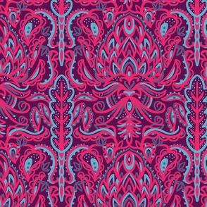 Lotus Flower Bohemian Pattern in Purple and Pink
