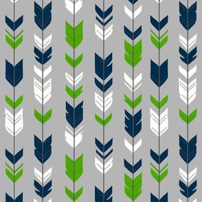 Arrow Feathers - Seahawks green and navy on hrey