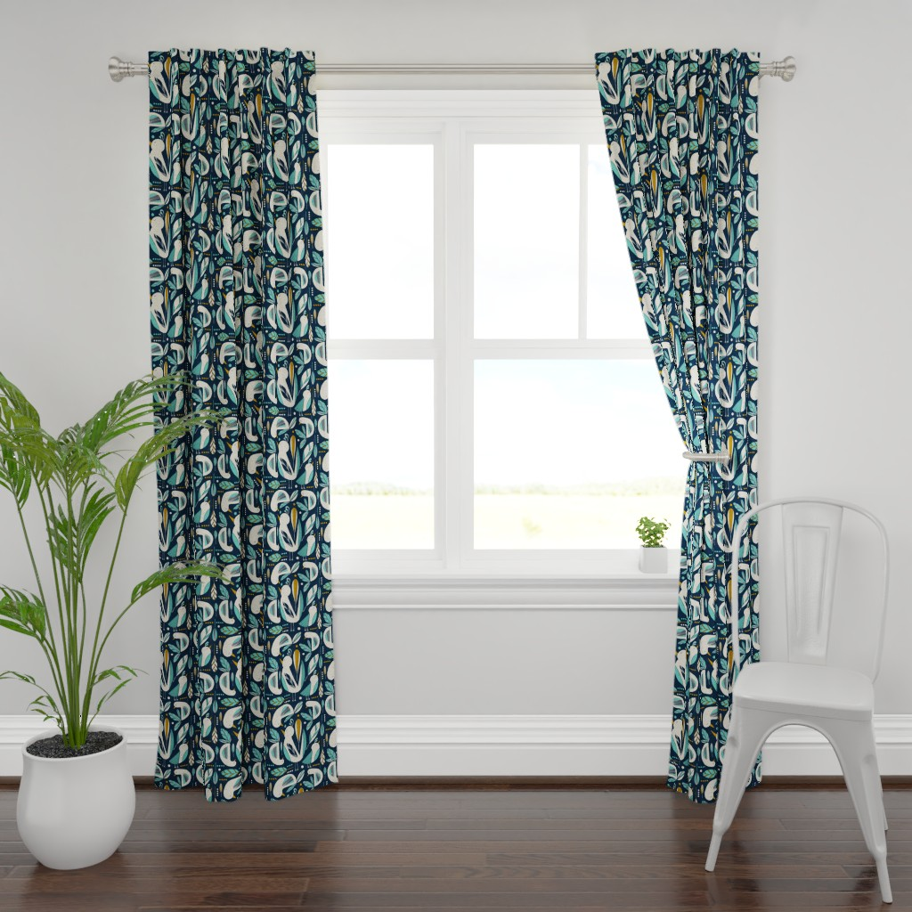 Plymouth Curtain Panel featuring Feathered Flock - Navy  by heatherdutton