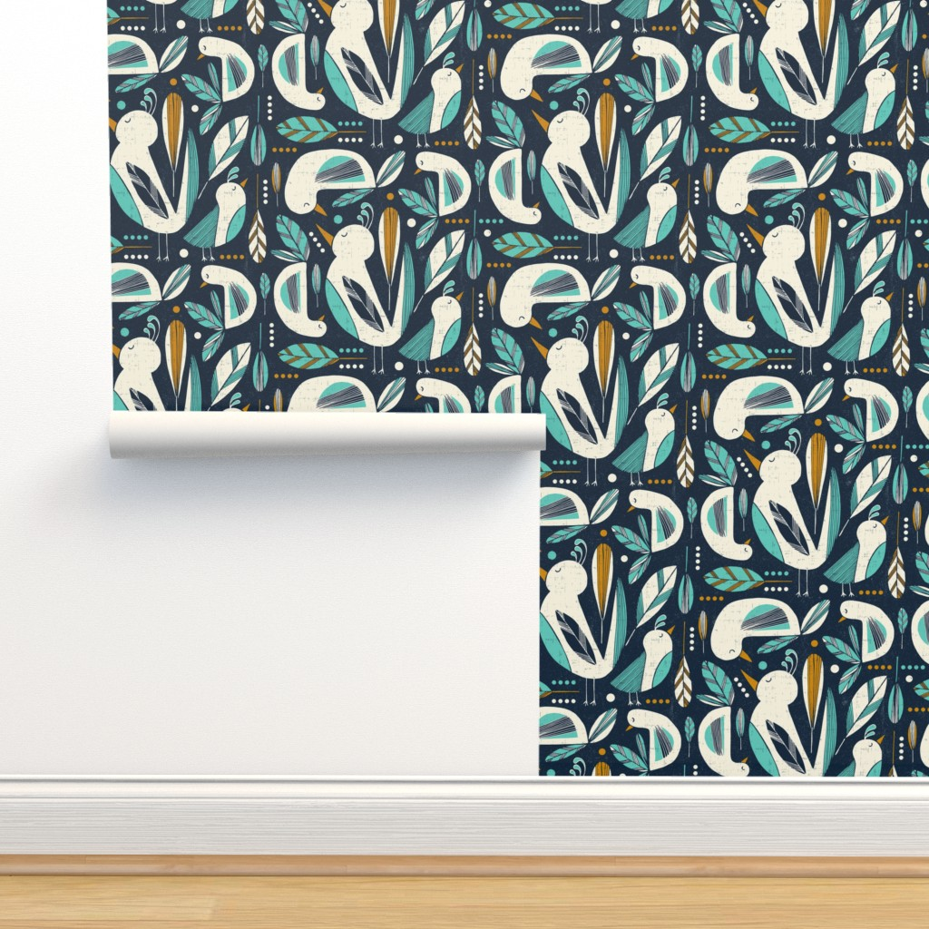 Isobar Durable Wallpaper featuring Feathered Flock - Navy  by heatherdutton