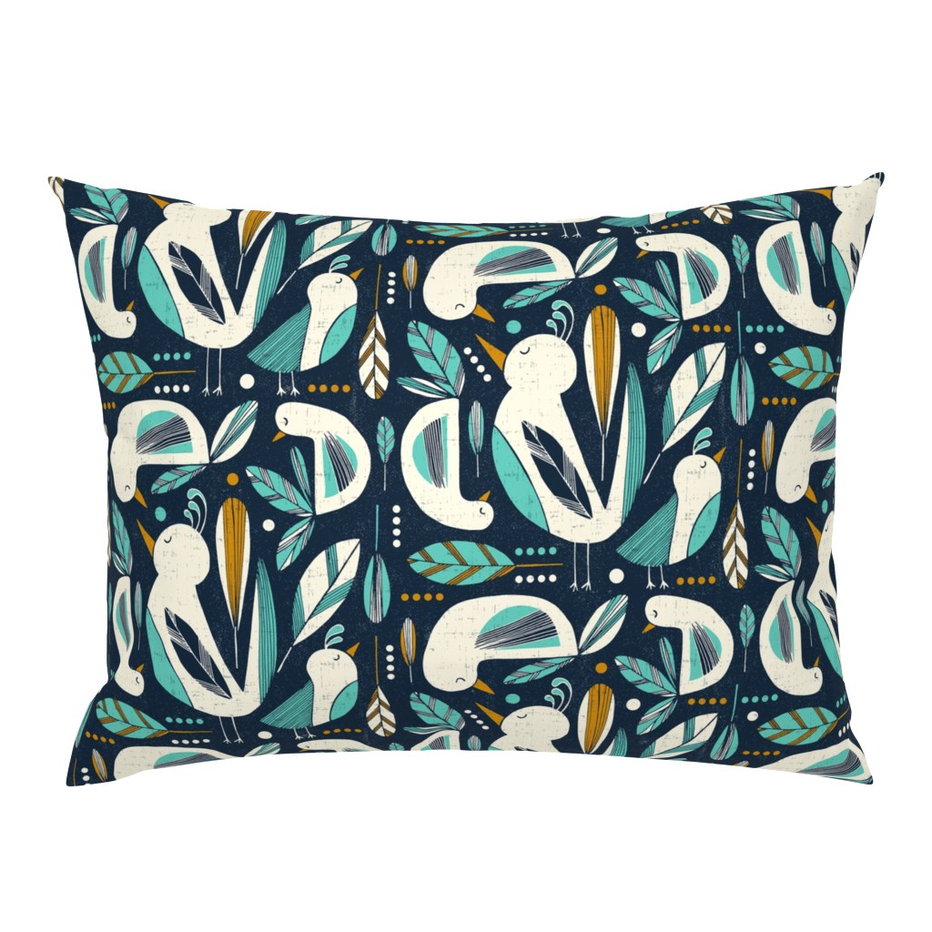 Campine Pillow Sham featuring Feathered Flock - Navy  by heatherdutton