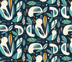 Feathered Flock - Navy