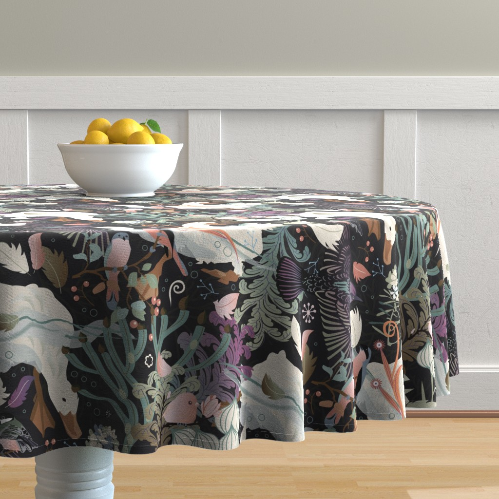 Malay Round Tablecloth featuring Feathered friends by camcreative