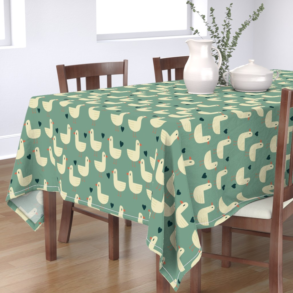 Bantam Rectangular Tablecloth featuring seagull love by the_kitten_is_in