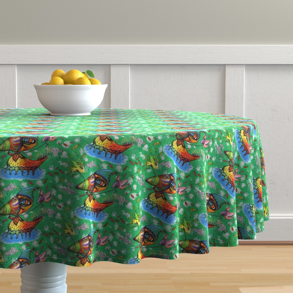 Malay Round Tablecloth featuring he always was an odd duck, green, quirky, large scale by amy_g