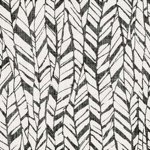 graphic feather black and white on linen